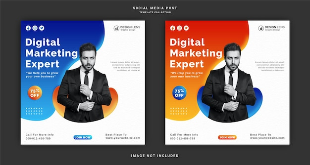 Шаблон сообщения в социальных сетях о цифровом маркетинге