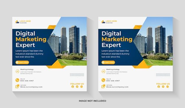 Digital marketing social media square flyer and instagram post or web banner editable template