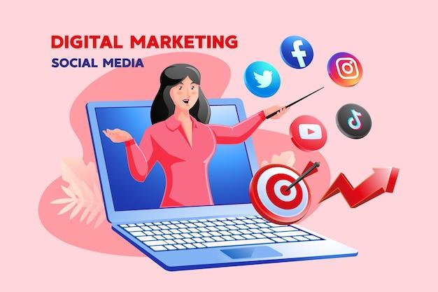 여성과 노트북 기호가 있는 디지털 마케팅 소셜 미디어