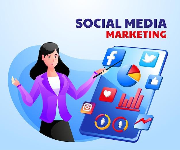 여자와 스마트 폰으로 디지털 마케팅 소셜 미디어 프리미엄 벡터