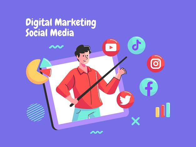 データ分析を備えたデジタルマーケティングソーシャルメディア