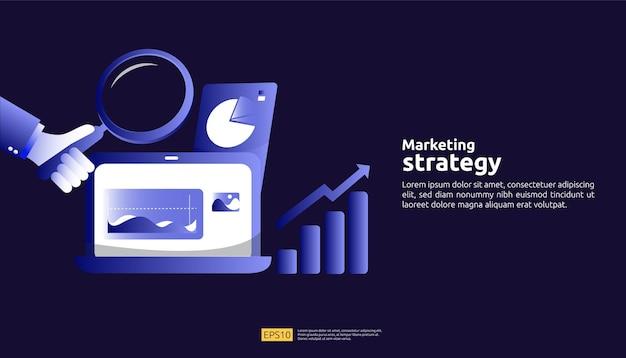 테이블, 컴퓨터 화면의 그래픽 개체가 있는 디지털 마케팅 전략 개념. 비즈니스 성장 및 투자 roi. 차트 증가 이익. 배너 평면 스타일 벡터 일러스트 레이 션