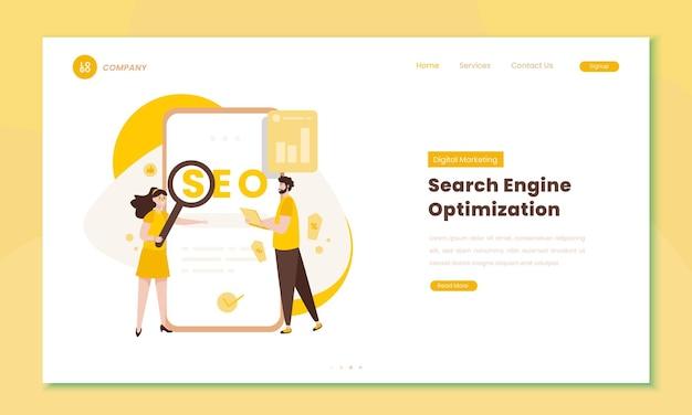 Стратегия цифрового маркетинга или иллюстрация seo на концепции целевой страницы