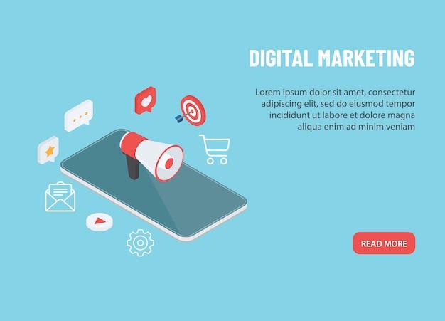 デジタルマーケティング戦略。メガホンデバイスのスピーカーとインターネット共有アイコンを持つスマートフォン