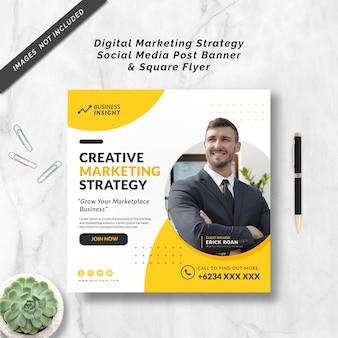 Digital marketing strategy social media post banner & square flyer