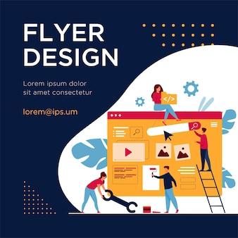 Team di marketing digitale che costruisce landing page o home page. persone minuscole che dipingono unità sulla pagina web. modello di volantino