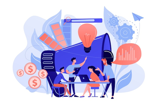 ノートパソコンと電球を備えたデジタルマーケティングチーム。マーケティングチームの指標、マーケティングチームのリーダー、および白い背景の責任の概念。