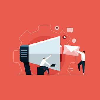 Команда цифрового маркетинга с мегафоном, иллюстрация маркетинга в социальных сетях