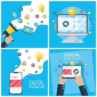 Digital marketing tech with electronic devices