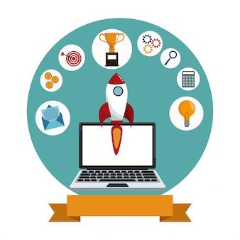 Ракета для цифровой маркетинговой технологии