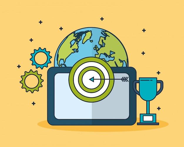Digital marketing technology with world planet