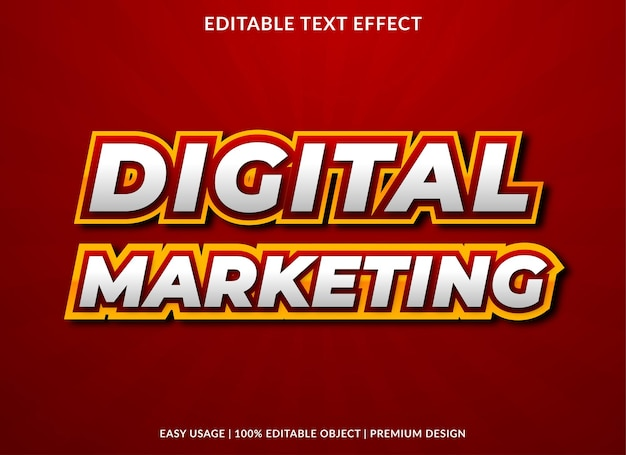 大胆なスタイルのデジタルマーケティングテキスト効果テンプレートデザイン