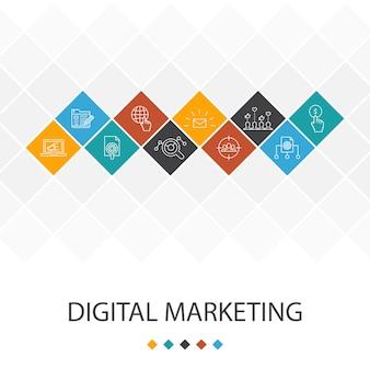 デジタルマーケティングのトレンディなuiテンプレートのインフォグラフィックの概念。インターネット、マーケティングリサーチ、ソーシャルキャンペーン、クリック課金アイコン