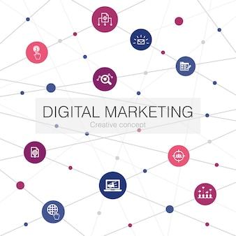 간단한 아이콘으로 디지털 마케팅 유행 웹 템플릿입니다. 인터넷, 마케팅 조사, 소셜 캠페인, 클릭당 지불과 같은 요소가 포함되어 있습니다.