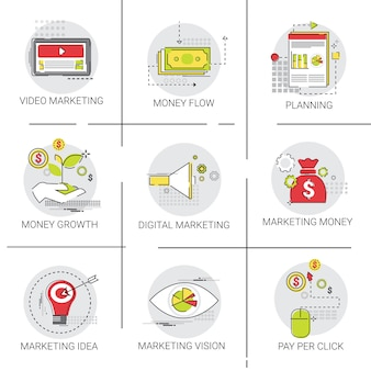 Digital marketing vision business economy icon set