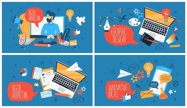 デジタルマーケティングwebバナーセット。グラフィックデザインと革新