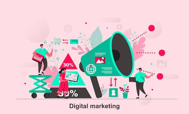 Дизайн веб-концепции цифрового маркетинга в плоском стиле с персонажами крошечных человечков
