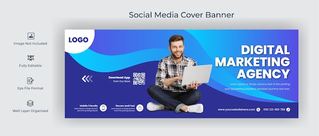 Digital marketing web and facebook cover social media post banner editable