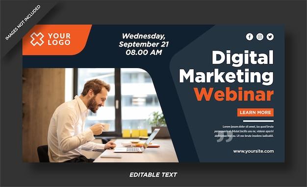 Шаблон дизайна баннера вебинара по цифровому маркетингу