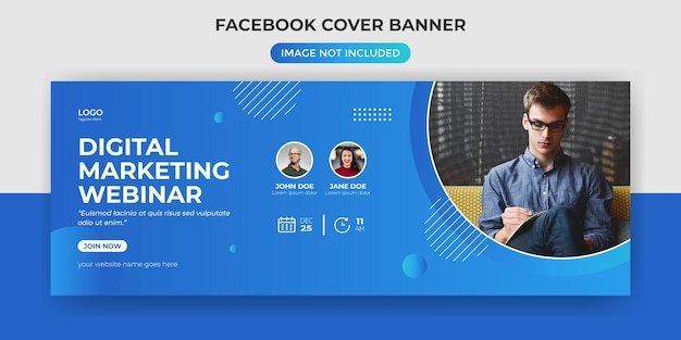 Digital marketing webinar facebook cover banner template