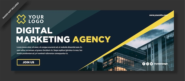 Digital marketing webinar facebook cover template design