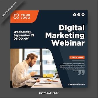 Шаблон дизайна веб-семинара по цифровому маркетингу в instagram