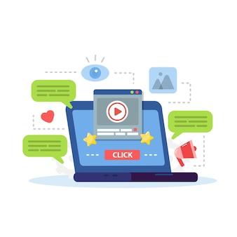 Digital marketing, website content promotion on internet and social media