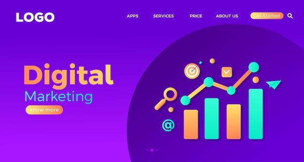 デジタルマーケティングのウェブサイトのランディングページテンプレート