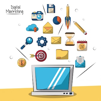 Digital marketing with laptop and smaller marketing icons