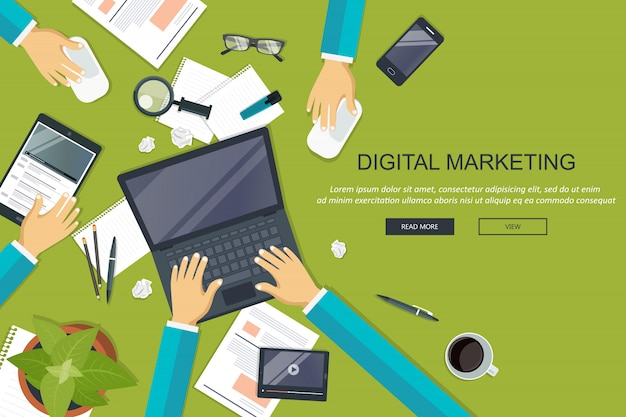 Digital marketing, working desk environment