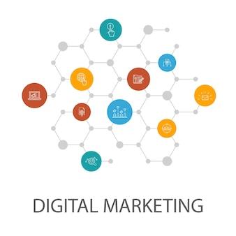 디지털 마케팅 프레젠테이션 템플릿, 표지 레이아웃 및 인포그래픽. 인터넷, 마케팅 조사, 소셜 캠페인, 클릭당 지불 아이콘