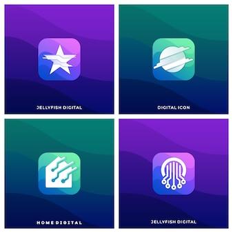 Digital media icon абстрактный круг красочные иллюстрации