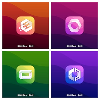 Digital media icon colorful illustration logo template