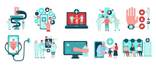 Digital medicine set of icons