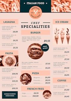 Цифровое меню для ресторана в вертикальном формате