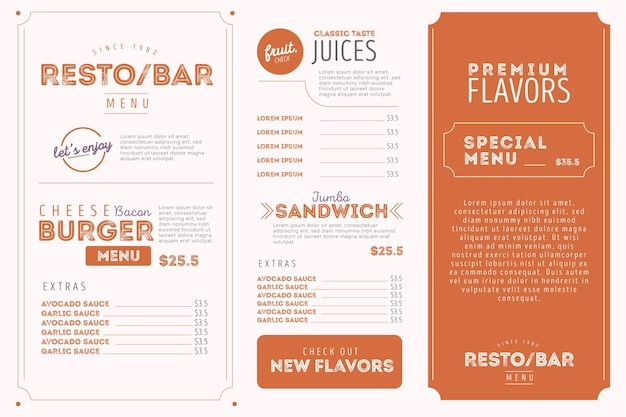 Digital menu horizontal format