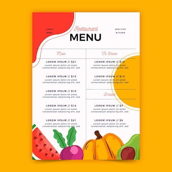 Digital menu for restaurant in vertical format