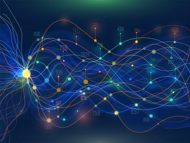 異なる値を持つデジタルメッシュ波状の抽象的な背景。