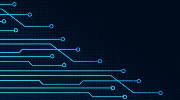 기술 배경 하이테크 디지털 컨셉 디자인에 디지털 마이크로 칩