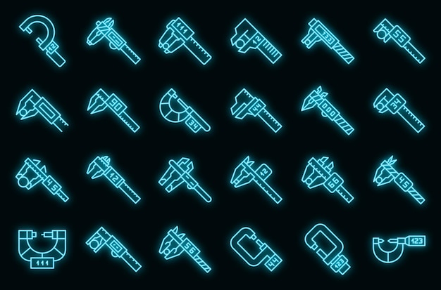 Digital micrometer icons set vector neon