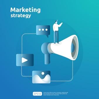 デジタルモバイルおよびアフィリエイトオンラインソーシャルメディアマーケティング戦略の概念。友人の広告コンテンツプロモーション戦略ベクトルバナーイラストを参照してください。