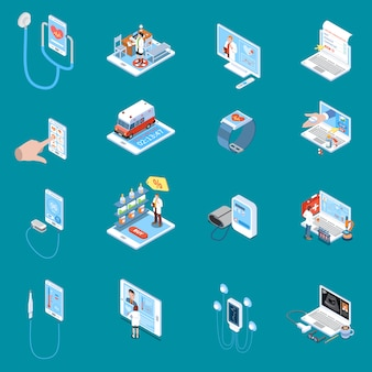 Digital mobile health isometric icons with online consultation internet pharmacy medical devices blue  isolated