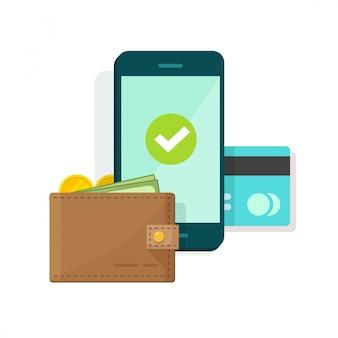 핸드폰 또는 휴대 전화 벡터 일러스트 아이콘 플랫 만화에 디지털 모바일 지갑 또는 결제