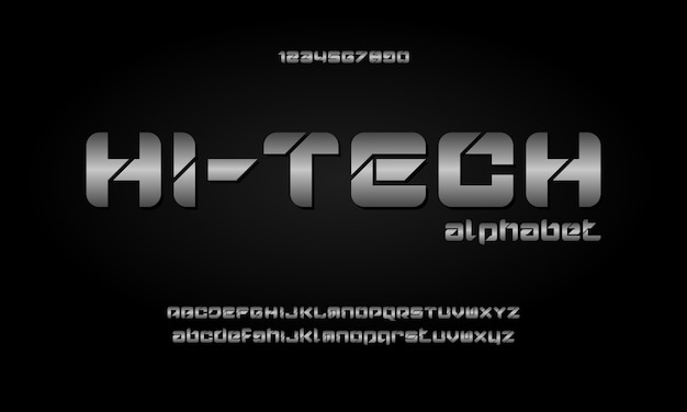 Digital modern alphabet fonts. abstract typography technology electronic, sport, music, future creative font