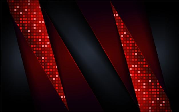 デジタルモダンなダークとレッドの未来的な形状の背景