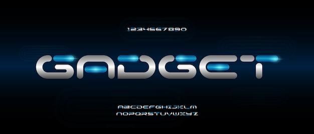 Цифровой современный футуристический шрифт алфавита. типография городской шрифт