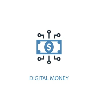 Digital money concept 2 colored icon. simple blue element illustration. digital money concept symbol design. can be used for web and mobile ui/ux