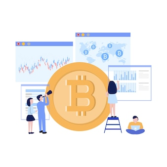 Digital money concept business people and bitcoin future graph trend vector illustration flat design