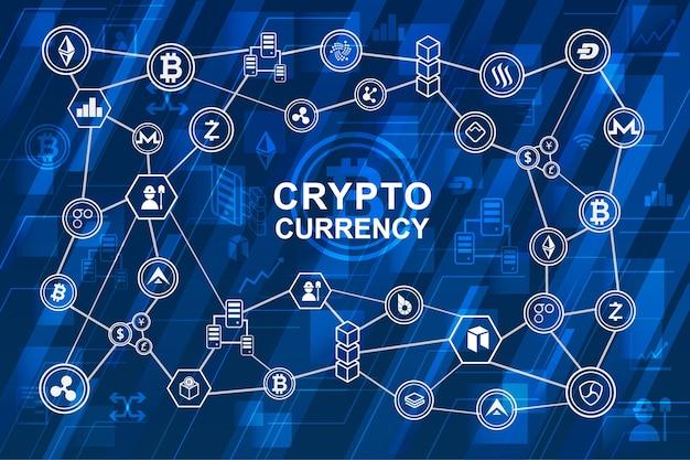 블록 체인 시스템에 디지털 돈 개념 연결 다이어그램.