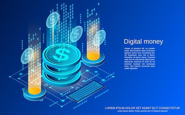 Digital money flat 3d isometric vector concept illustration